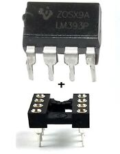 10PCS Texas Instruments LM393AP LM393 + Sockets Dual Differential Comparator IC