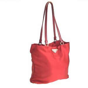 100% authentic PRADA nylon tote bag red used 1537-11A97