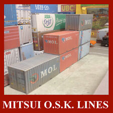 OO Gauge Model Shipping Containers The MOL Collection 20ft & 40ft x 10 Pre-Weath