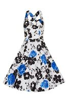 Ladies Vintage Retro's White Black Blue Floral Rockabilly 50s Flared Swing Dress