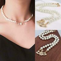 Chain Mini Bas Relief Pearl CHOKER Necklace With Silver Orb Women FREE SHIPPING