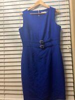 CALVIN KLEIN 12 Career Dress Royal Blue Short Sleeve