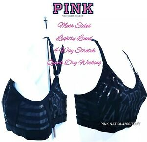 VICTORIA'S SECRET PINK ULTIMATE STRAPPY MESH RACERBACK SPORTS BRA + ²Hair Ties