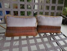 """2-18"""" Purple/Copper Satin Fabric Throw Pillows  with Beaded Trim"""