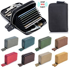Men's RFID Block Genuine Leather Key Ring Secure Card Holder Zip Around Wallet