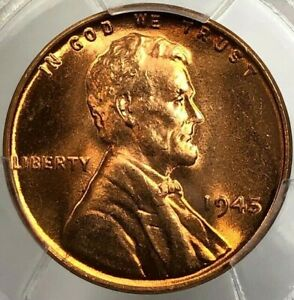 1945 PCGS MS65 RD Lincoln Wheat Cent 1c ~ Cherry BU Better Date Penny