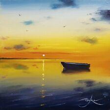 "Original painting by BEN PAYNE Art 6""×6"" oil on panel sunset sea boat + COA"