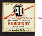 1940s Pennsylvania Philadelphia Bartolomeo PIO BURGUNDY Label