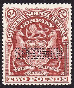 Rhodesia 1908 £2 PERF SPECIMEN DOUBLE(SAMUEL R5) SG91s VF NO GUM -NEVER HINGED-5