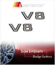 2x 3D Mercedes V8 Black Chrome Side Emblem Letters CLK W212 S500 E500 W204 AMG