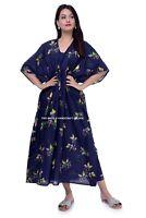 Women's New Plus Size 100% Cotton Long Kaftan Dress Blue Floral Print Beach Wear