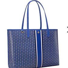 Tory Burch Gemini Blue White Shopper Vinyl Patent Leather Shoulder Tote Xl Bag