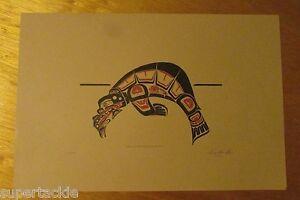JIM GILBERT 1932 - 2000 artist numbered Haida style print SEA LION WITH SALMON