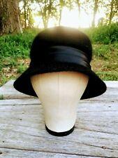 Vintage Black Fuzzy Wool Bucket Hat