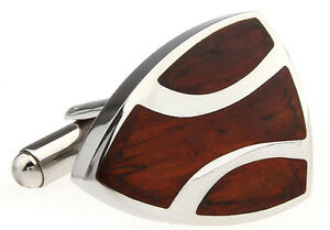 Wood and Stainless Steel Shield Wedding Cufflinks by COWAN BROWN
