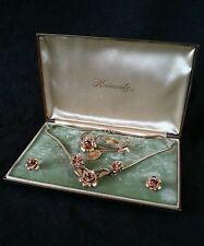 Vintage Krementz jewelry full parure cased set ca. 1940's