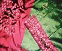 Vintage Pochampally Ikat Patola Saree Pure Silk Indian Sari Fabric 5Yard Craft