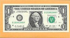 2013 UNITED STATES OF AMERICA 1 DOLLAR BILL D 15391588 F (UNC)
