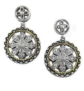 Andrea Candela 18k Gold & Silver Diamond Halo Design Dangle Earrings ACE310/06
