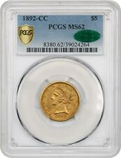 1892-CC $5 PCGS/CAC MS62 - Better Date - Liberty Half Eagle - Gold Coin
