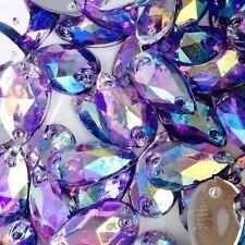 50 Pcs x sew on 7x12 mm en Acrylique Strass Violet AB Couleur forme de larme