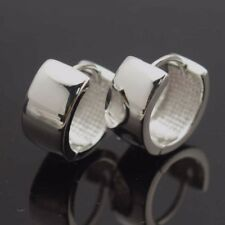 18k White Gold Filled Earrings 15mm8mm Smooth Hoop GF Charm Fashion Jewelry Gift