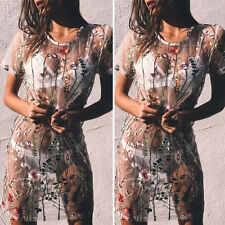 Ladies Mesh Sheer Embroidered Floral T-Shirt Dress Women See Through Tulle Dress