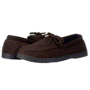 Dearfoams Men's Moccasin Slipper with Tie Size 7/8 Brown Slip On Comfort Warm