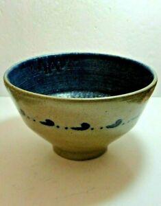 BEN OWEN MASTER POTTER Gray & Cobalt Blue Large Mixing Bowl