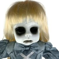 Haunted Creepy Zombie Animated Talking Blonde Doll On Stand