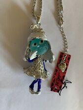 RARE-Betsey Johnson Enamel Elf princess (SMURF) Sweater fashion necklace-BJ60052