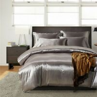 Luxury Silk Satin Duvet Cover with Pillow Cases Bedding Set American Size Modern