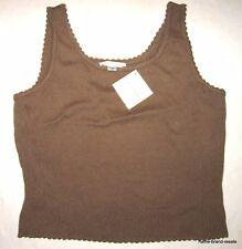 ST JOHN $275 Womens M MEDIUM Tan Brown Camel Tank Top Sweater Shirt Sleeveless