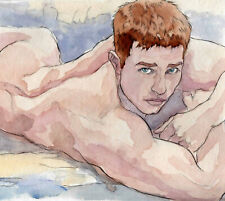 ORIGINAL LARGE MALE NUDE Watercolor -FELIX- by GERMANIA
