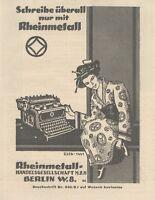 Y6163 Macchina da scrivere RHEINMETALL - Pubblicità d'epoca - 1925 Old advert