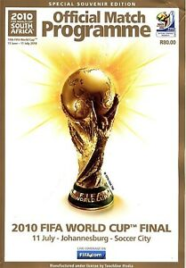 WORLD CUP FINAL 2010 Spain v Holland in South Africa - Official match programme