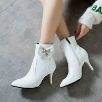 Womens Trendy Diamante Bowknot Pointy Toe Ankle Boots Kitten Mid Heels Shoes