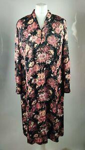 Vintage Women Dress Collar Button Floral Print Red Oversized Loose Plus 14 16 XL