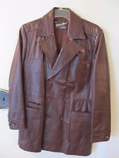 ETIENNE AIGNER Leather Classic Vintage Blazer JACKET Coat Mens Size 38 Brown