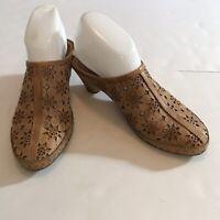 Pikolinos Womens Leather Shoes Slip on Clog Slide Tan Laser Cut EU 38 US 7.5-8