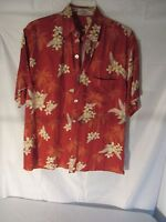 Mens Rayon 100% Small Sm S Hawaiian Shirt Red Orange Flowers Previously worn
