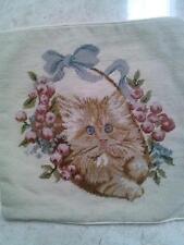 "16"" NeedlePoint Persian White Cat Pillow Sham 16"" Square"