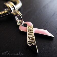 Breast Cancer Survivor Pink Ribbon Awareness Bead For European Charm Bracelets
