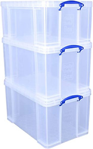 Really Useful Box 2x84 Litre + 1x64 Litre Storage Box Clear