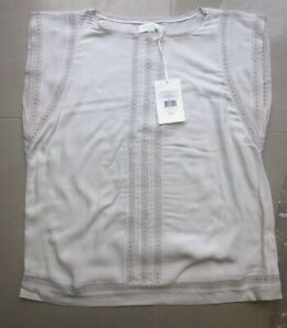 BNWT White Company Flutter Sleeve Embroidered Top 10 Silver NEW Blouse Shirt