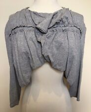 MAD CORTES Grey Crop Frill Drape Front 3/4 Sleeve Stretch Bolero Jacket 2 8-10