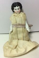 "Antique Miniature 4"" China Doll Frozen Body Original Dress"