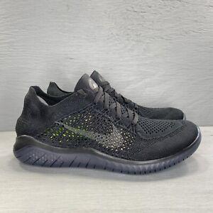 NIKE Free RN Flyknit 2018 Running Shoes Triple Black 942839-002 Women's Size 9.5
