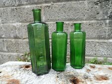 Antique poison bottles - set of 3 graduated Green glass vintage apothecary