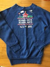 Vintage Kids Girl Boy Sweater NEEDLEPOINT Blue 6 / 8 Size Embroidery SCHOOL DAYS